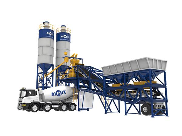 Мобильный бетонный завод на работе