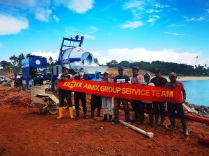 Индонезия: бетоносмеситель с насосом